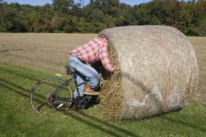 Bike Riding into Hay Bail