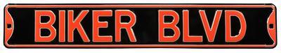 Biker Blvd Steel Street Sign