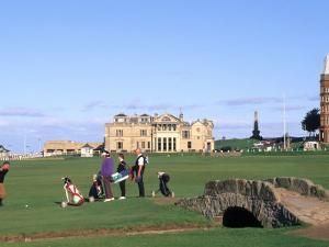 18th Hole and Fairway at Swilken Bridge Golf, St Andrews Golf Course, St Andrews, Scotland by Bill Bachmann