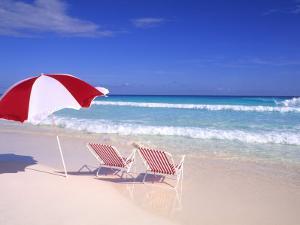 Beach Umbrella and Chairs, Caribbean by Bill Bachmann