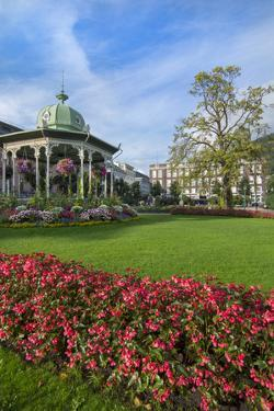 Bergen, Norway, Music Pavilion Colorful Gazebo with Flowers, Downtown by Bill Bachmann