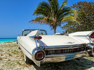 Classic 1959 White Cadillac Auto on Beautiful Beach of Veradara, Cuba by Bill Bachmann
