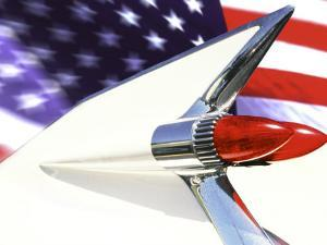 Classic Cadillac and American Flag by Bill Bachmann