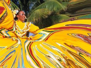 Dancers Performing in Costume, Costa Maya, Mexico by Bill Bachmann