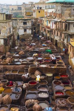 Fez, Morocco, Old Tannery Called Chouara Tannery by Bill Bachmann