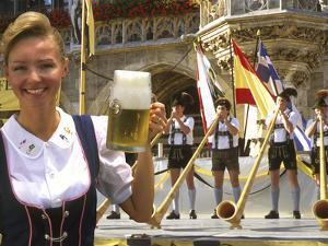 German Woman Holding Stein of Beer, Oktoberfest by Bill Bachmann