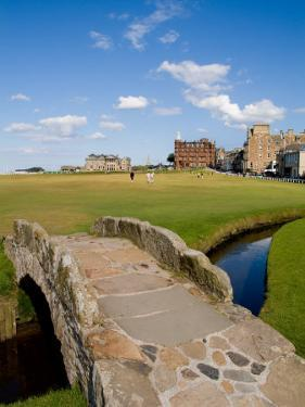 Golfing the Swilcan Bridge on the 18th Hole, St Andrews Golf Course, Scotland by Bill Bachmann