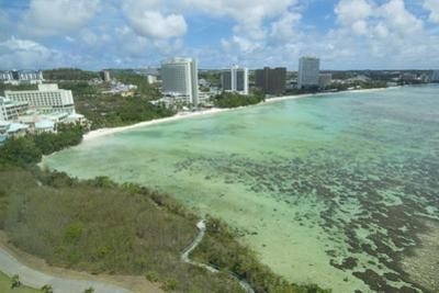 Guam, USA Territory.Beach from above with ocean beach and clouds by Bill Bachmann