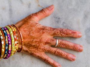 Henna Design on Woman's Hands, Delhi, India by Bill Bachmann