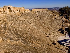 Historical 2Nd Century Roman Theater Ruins in Dougga, Tunisia, Northern Africa by Bill Bachmann