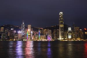 Hong Kong, China. Skyline Harbor with New Ferris Wheel and Reflections , Background by Bill Bachmann