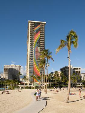 Lake and Skyline of Rainbow Tower of Hilton's Waikiki Village in Waikiki Beach, Honolulu, Hawaii by Bill Bachmann