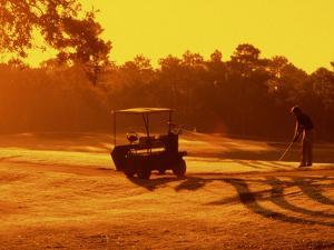 Man and Golf Cart Silhouetted at Sunset by Bill Bachmann