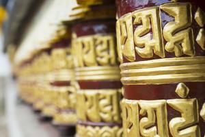 Nepal Prayer Wheels in Khumjung Solukhumbu, Mt Everest, Himalayas by Bill Bachmann