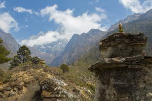 Nepal Valley Reaching Back into the Himalayas with a Chorten by Bill Bachmann