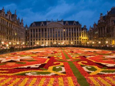 Night View of the Grand Place with Flower Carpet and Ornate Buildings, Brussels, Belgium