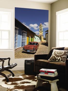 Old Classic Chevy on Cobblestone Street of Trinidad, Cuba by Bill Bachmann