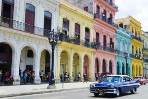 Pastel Buildings Near City Center, Havana, Cuba by Bill Bachmann