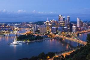Pittsburgh, Pennsylvania, Skyline from Mt Washington of Downtown City by Bill Bachmann