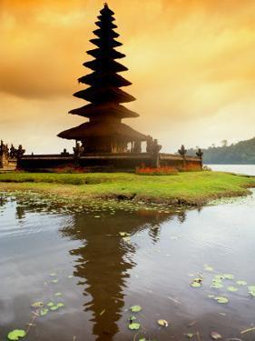 Religious Ulur Danu Temple in Lake Bratan, Bali, Indonesia by Bill Bachmann