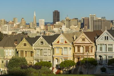 San Francisco, California, Victorian homes and city. by Bill Bachmann
