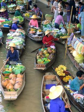 Shopping Boats at the Floating Market, Damnern Saduak, Bangkok, Thailand by Bill Bachmann