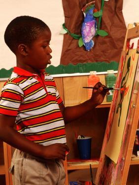 Student in Kindergarten Art Class by Bill Bachmann