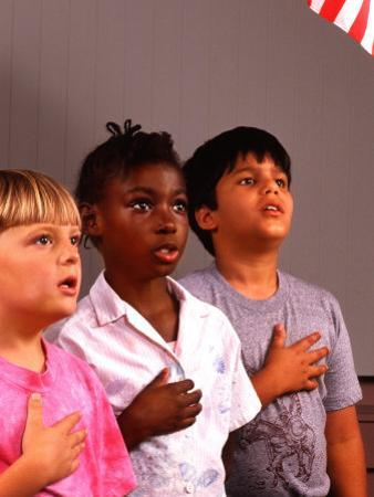Students Reciting Pledge of Allegiance by Bill Bachmann