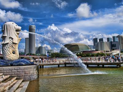 Symbol of Singapore and Downtown Skyline in Fullerton Area, Clarke Quay, Merlion by Bill Bachmann