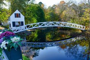 USA, Maine, Somesville. White House and Curved Bridge over a Pond by Bill Bachmann