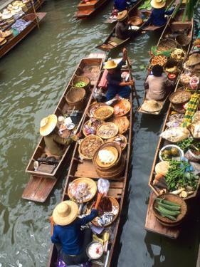 Vendors, Waterways and Floating Market, Damnern Saduak, Thailand by Bill Bachmann