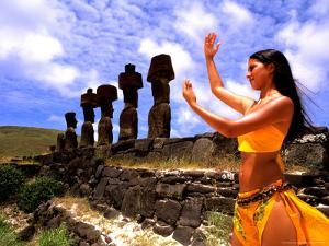 Woman in Costume at Ahu Tongarriki, Tapati Festival, Rapa Nui, Easter Island, Chile by Bill Bachmann