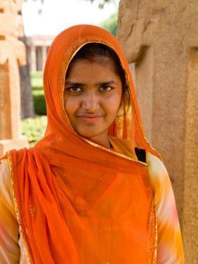 Woman in Sari Dress at Qutub Minar Complex, New Delhi, India by Bill Bachmann