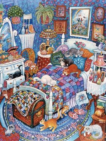 Blue Bedroom Cats