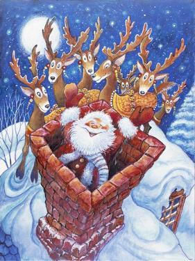 Reindeer Watch Santa Slide Down Chimney by Bill Bell