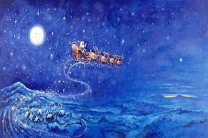 Santa in Night Sky over Winter Village in Sleigh Pulled by Reindeer by Bill Bell