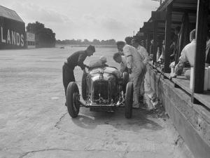 Amilcar C6 of Bill Humphreys in the pits, BRDC 500 Mile Race, Brooklands, 1931 by Bill Brunell