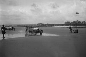 Bentley of ER Insole and Austin of RW Thomas competing in the Porthcawl Speed Trials, Wales, 1922 by Bill Brunell