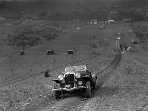 Jensen V8 competing in the London Motor Club Coventry Cup Trial, Knatts Hill, Kent, 1938 by Bill Brunell