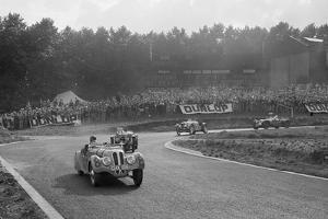 LG Johnsons Frazer-Nash BMW 328 leading two MG PBs, Imperial Trophy, Crystal Palace, 1939 by Bill Brunell