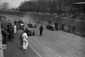 MG Q type, Frazer-Nash Shelsley and Bugatti Type 51 on the starting grid at Donington Park, 1930s by Bill Brunell