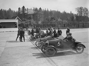 Morris, Morgan and Crouch cars on the start line of a motor race, Brooklands, 1914 by Bill Brunell