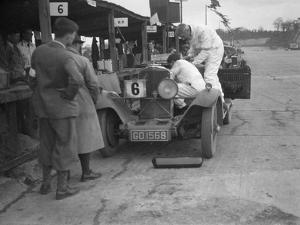 Talbot 90 of E and SJ Burt in the pits at the JCC Double Twelve race, Brooklands, May 1931 by Bill Brunell