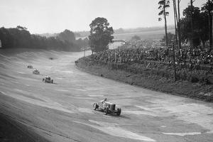 Talbot 90 on the banking at Brooklands, 1930s by Bill Brunell