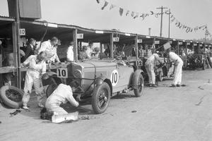 Two Talbot 105s in the pits at the JCC Double Twelve race, Brooklands, 8 - 9 May 1931 by Bill Brunell