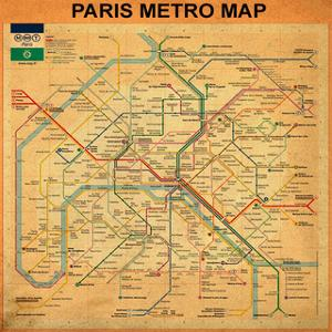 Paris Metro Map - Orange by Bill Cannon