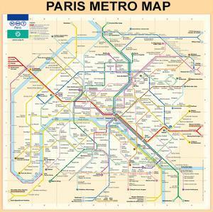 Paris Metro Map - Peach by Bill Cannon