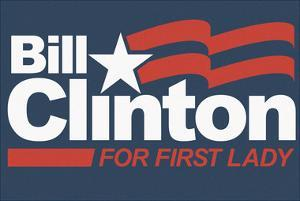 Bill Clinton For First Lady Grey Fan Sign