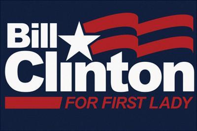 Bill Clinton For First Lady Navy Fan Sign