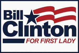 Bill Clinton For First Lady White Fan Sign